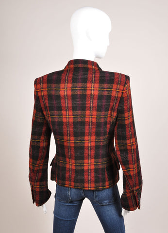 Sonia Rykiel Black, Red, and Yellow Plaid Tweed Double Breasted Blazer Backview
