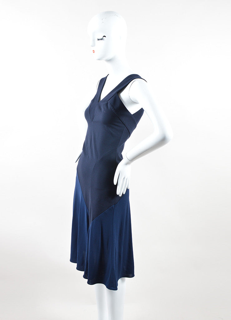 Navy Blue Stella McCartney Bicolor V-Neck Sleeveless Dress Sideview