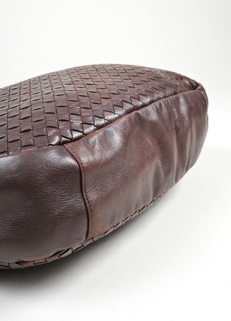 Brown Bottega Veneta Woven Intrecciato Leather Hobo Shoulder Bag Bottom View