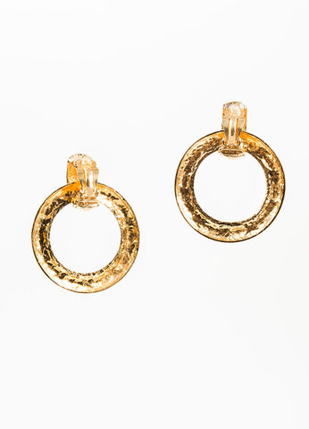 Gold Toned Chanel Quilted Convertible Drop Hoop Clip On Earrings Backview