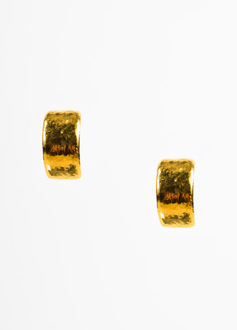 Gold Toned Chanel Hammered Wide Huggie Clip On Earrings Frontview