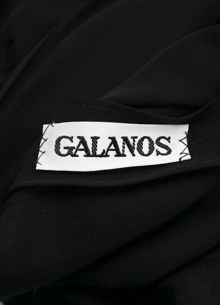 Galanos Black Draped Ruched Long Sleeve Dress Brand