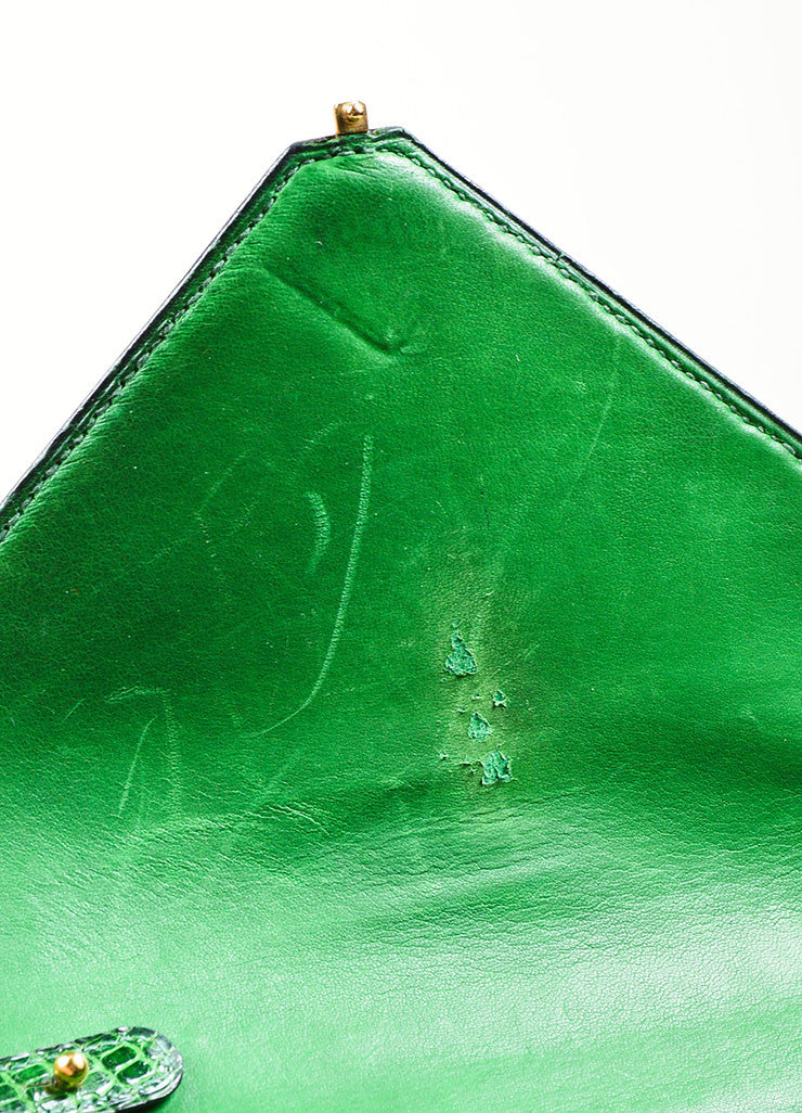 "Green Hermes Lizard Leather ""Marigny"" Envelope Clutch Shoulder Bag Interior 2"