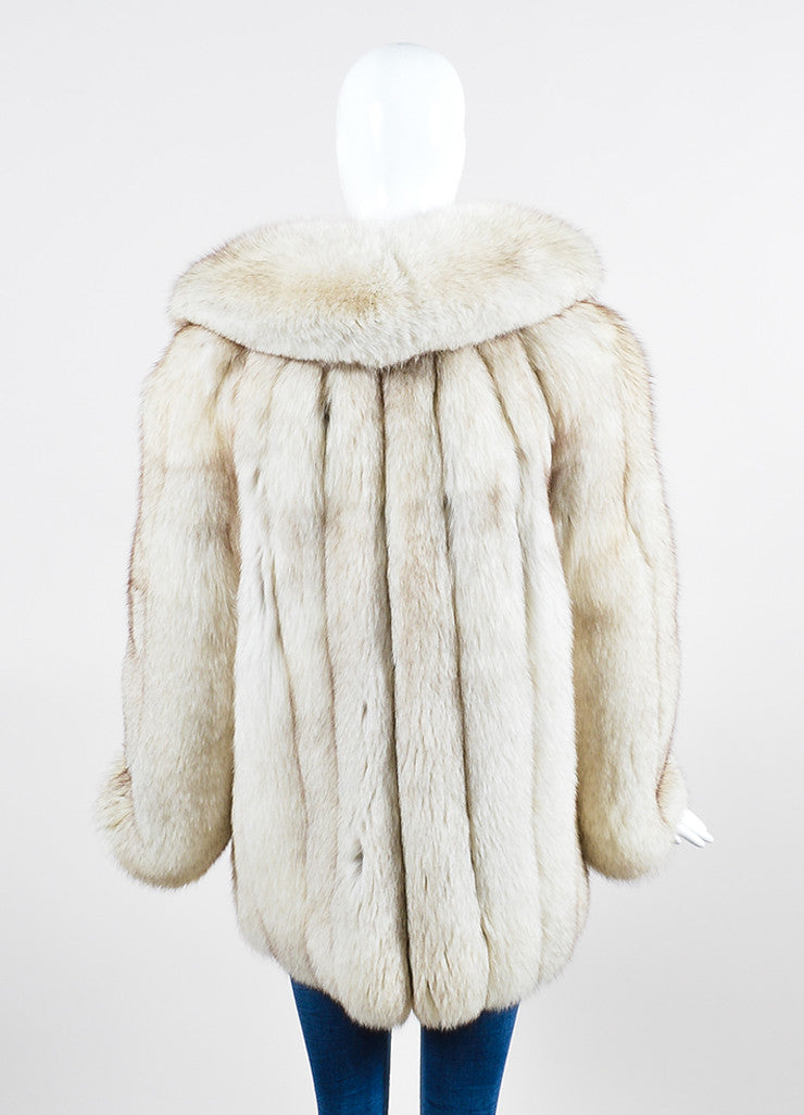 Cream and Brown I.Magnin Fur Channeled Coat Backview
