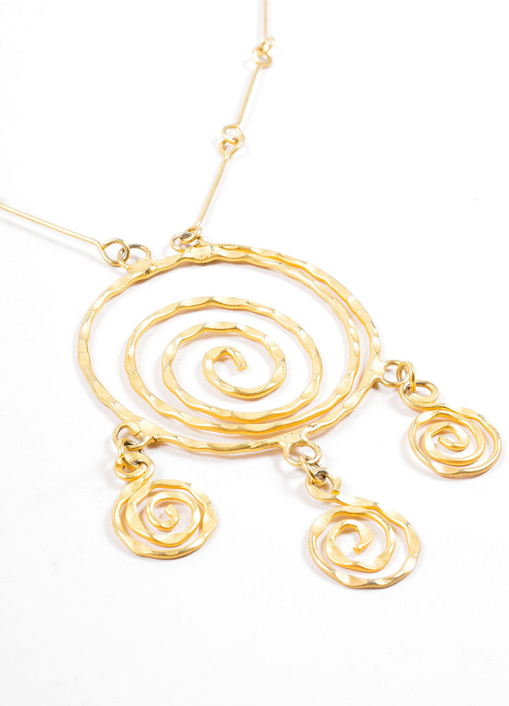 Vintage Matte Gold Toned Hammered Spiral Pendant Necklace Detail 2