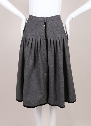 Valentino Grey Wool Front Button Midi Skirt Frontview