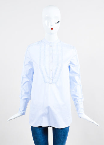 "Vilshenko Light Blue Cotton Lace Paneled Long Sleeve ""Joan"" Blouse Top frontview"