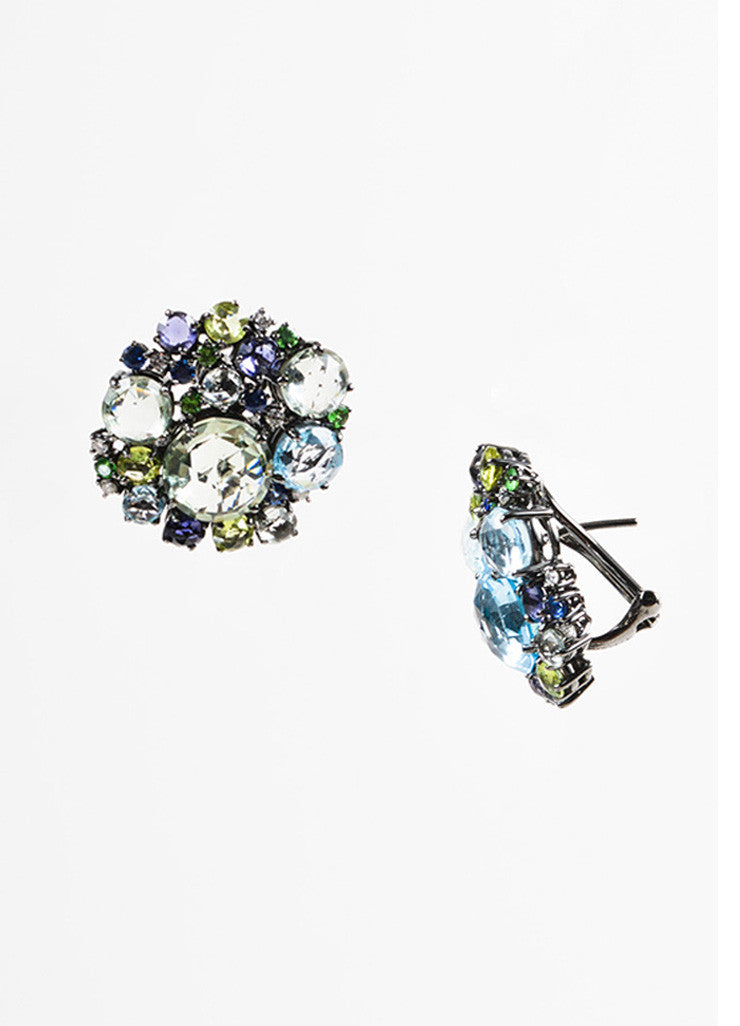 "A & Furst 18K Gold, Blue Topaz, Sapphire, and Diamond ""Bouquet"" Post Earrings Sideview"