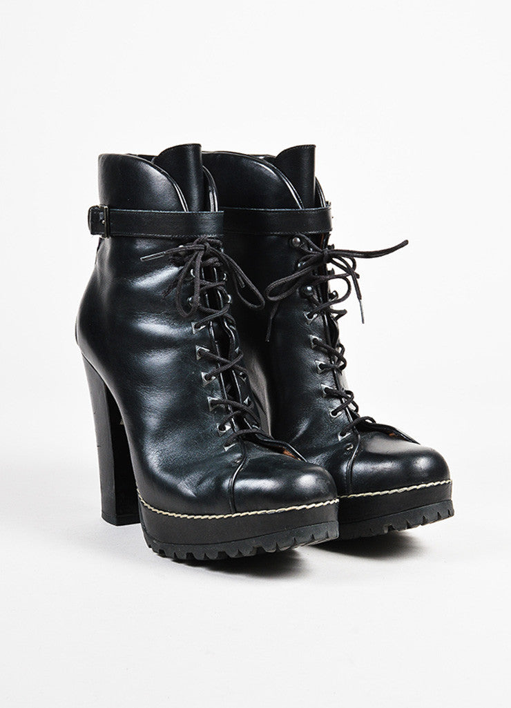 Alaia Black Leather Lace Up Heeled Platform Combat Ankle Boots Frontview