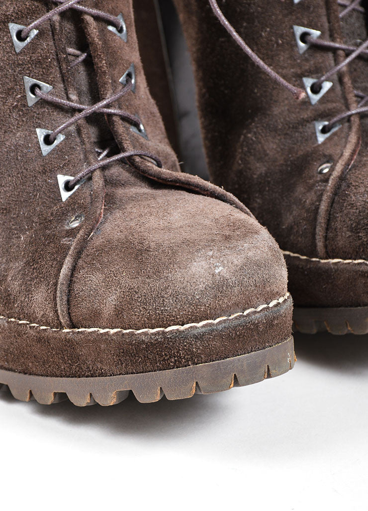 Brown Alaia Suede Lace Up Lug Ankle Boots Detail