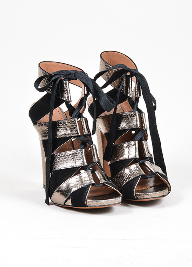 Black and Dark Silver Alaia Suede and Snakeskin Lace Up Peep Toe Sandals Frontview