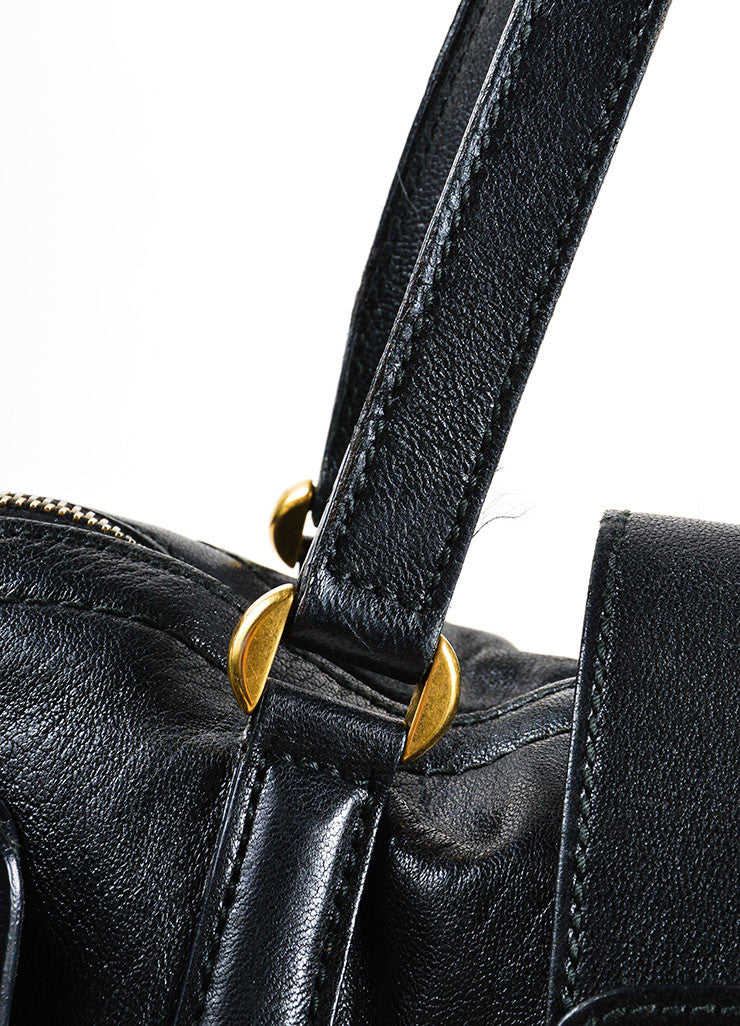 "Alexander McQueen Black and Gold Toned Leather Zip Up ""Flapper"" Tote Bag Detail 2"