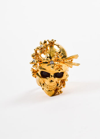 Alexander McQueen Gold Toned Swarovski Crystal Floral Skull Ring Frontview