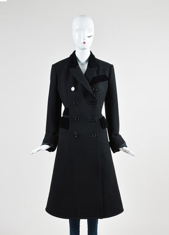 Alexander McQueen Black Wool and Velvet Combo Double Breasted Coat Frontview 2