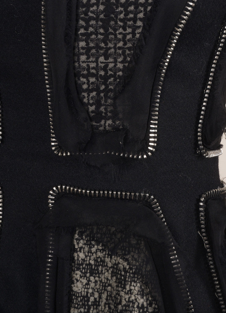 Alexander McQueen Black Tweed Wool Felt Zipper Trim Dress Detail