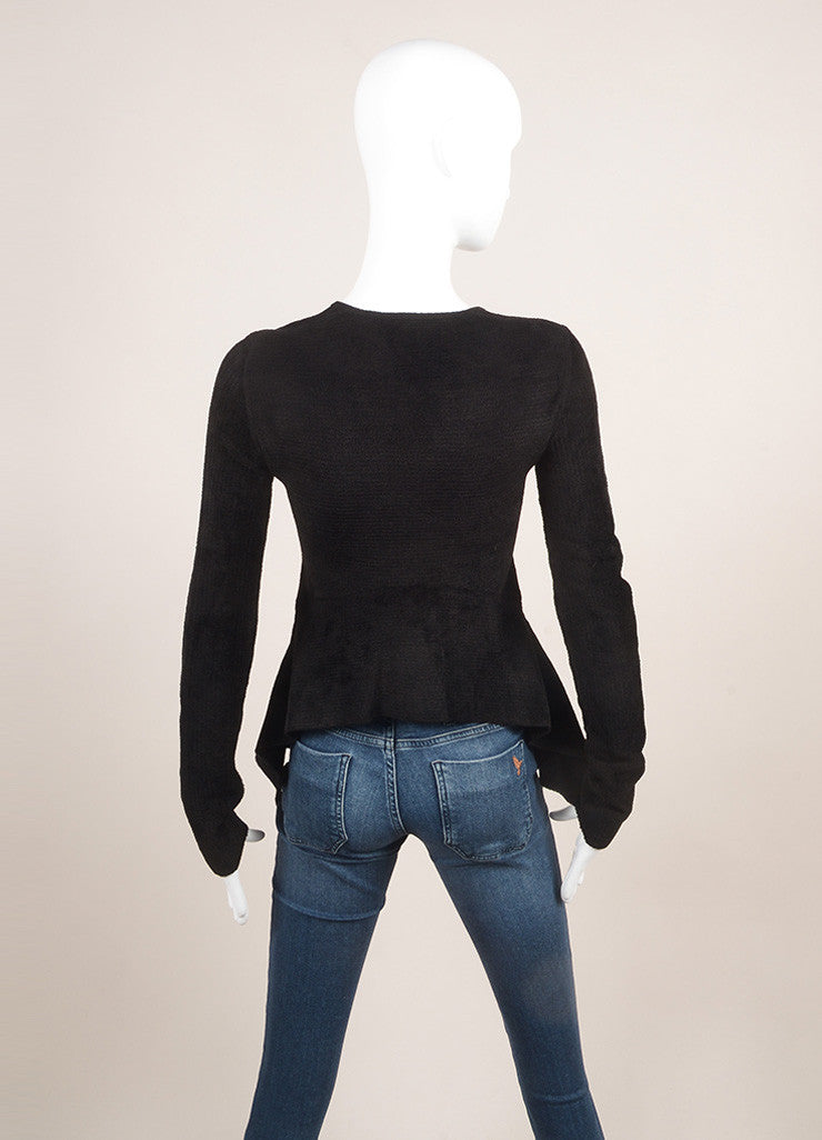 Alexander Wang Black Striped Chenille Long Sleeve High Low Peplum Top Backview