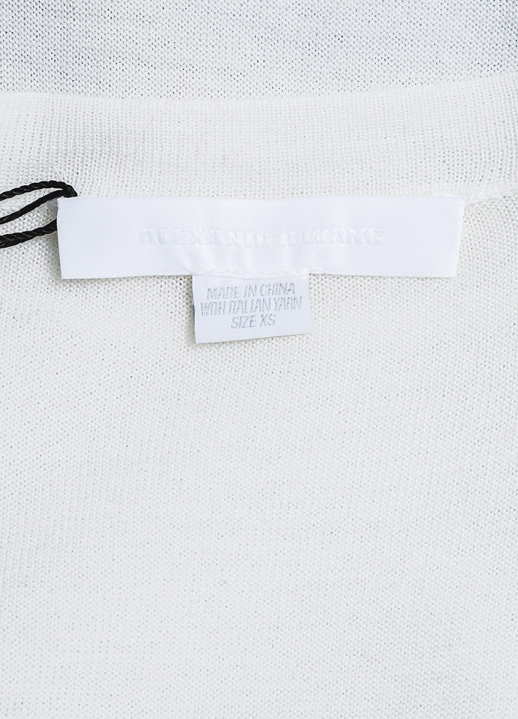 Alexander Wang Cream Wool and Silk Knit Short Sleeve Pocket T-Shirt Brand