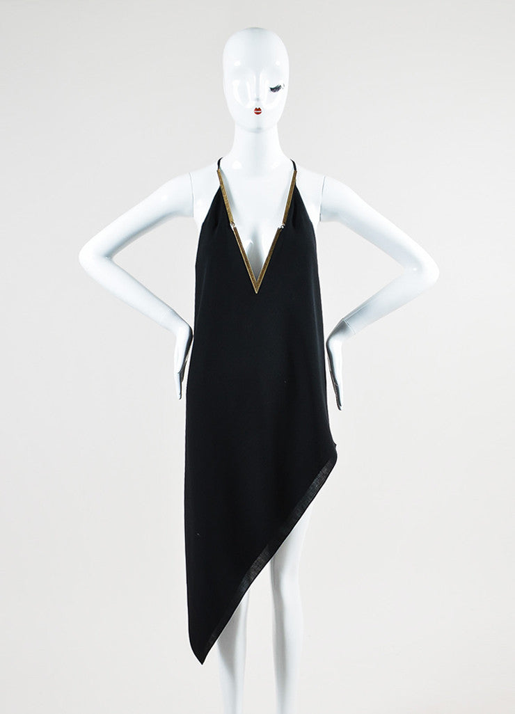Black and Brass Anthony Vaccarello V-Neck Asymmetrical Halter Dress Frontview