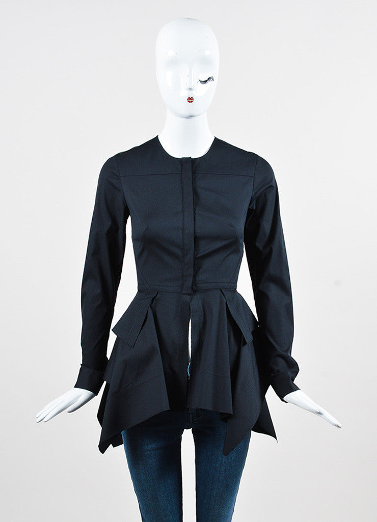 Aquilano Rimondi Black Cotton Blend Ruffled Tiered Peplum Blouse frontview