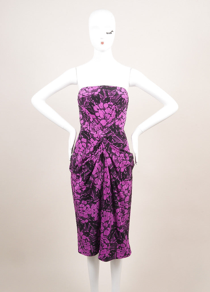 Bottega Veneta New With Tags Black and Purple Silk Floral Print Strapless Dress Frontview