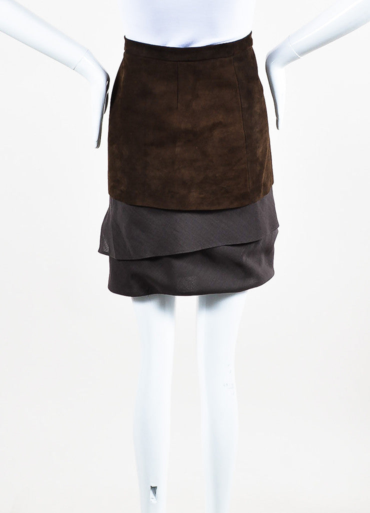 Brunello Cucinelli Brown Suede and Wool Blend Asymmetrically Tiered Skirt backview