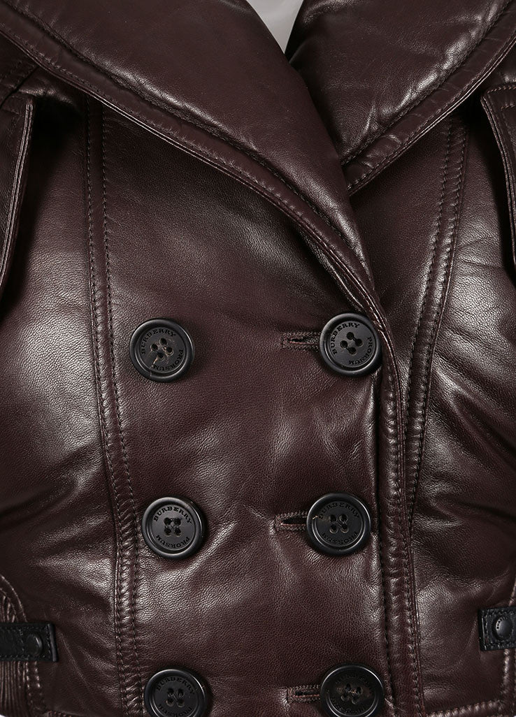 Burberry Prorsum Brown Leather Puffer Cropped Jacket Detail