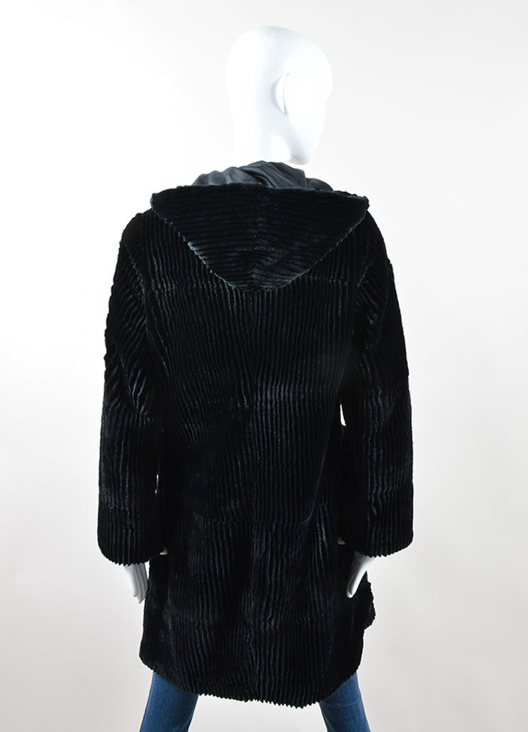 Black Cassin Ribbed Fur Braided Leather Toggle Hooded Coat Backview