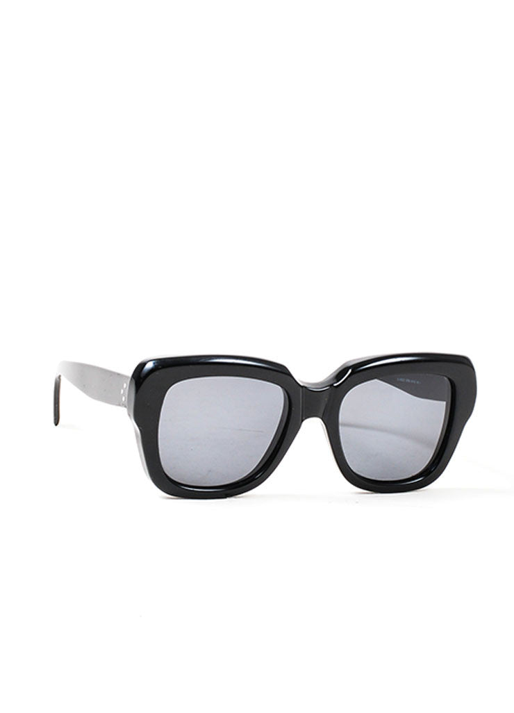"Black Celine Plastic Oversized Square ""Cocoon"" Sunglasses Sideview"