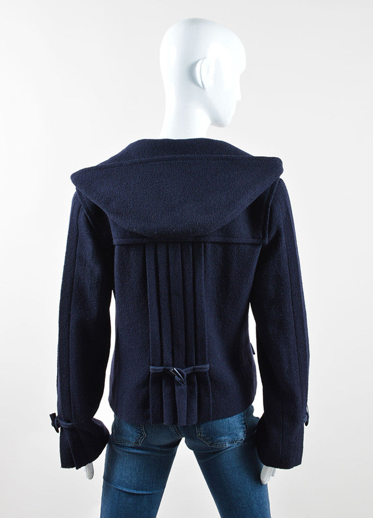 Chanel Navy Blue Wool Textured Hooded 'CC' Toggle Cropped Jacket Backview