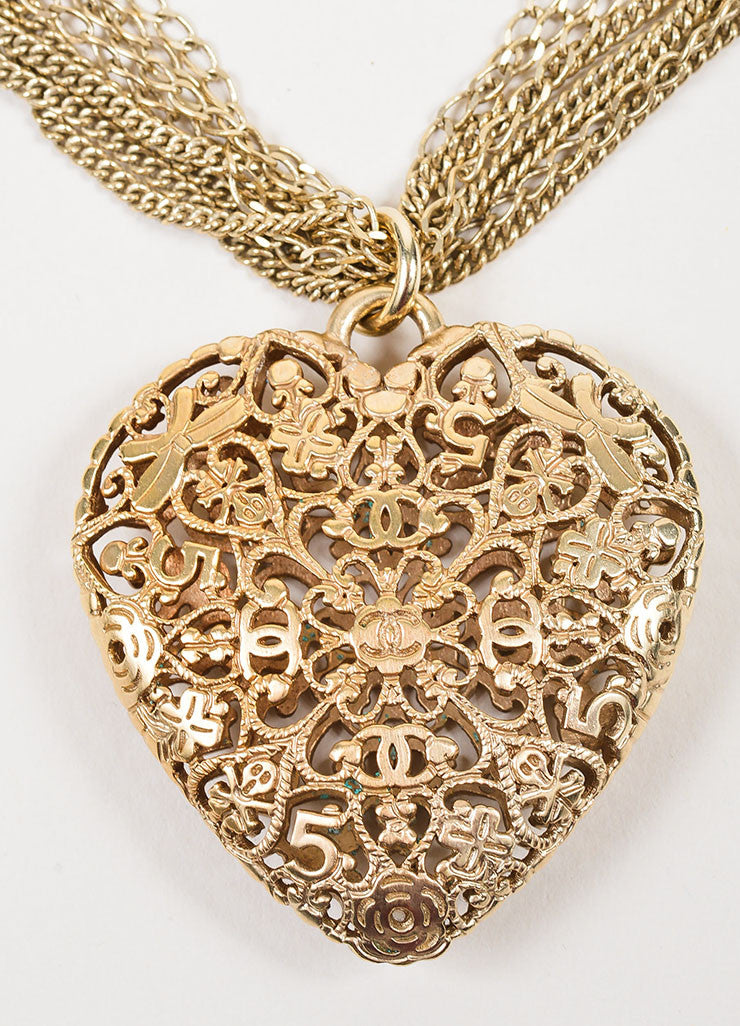Gold Toned and Faux Pearl Chanel Multi Strand Cut Out Heart Pendant Necklace Detail