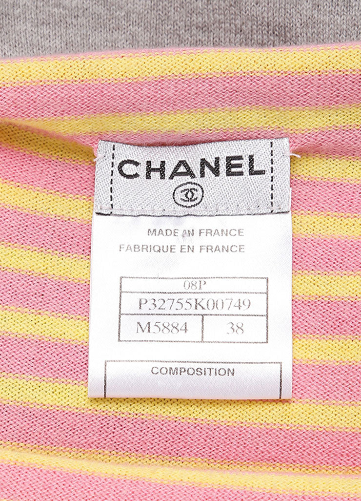 "Chanel Pink And Gray Multicolor Knit Cashmere Blend Printed ""5"" Sweater Tag"