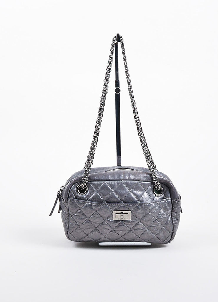 "Metallic and Gunmetal Grey Leather Chanel ""Reissue Camera Case"" Bag Frontview"