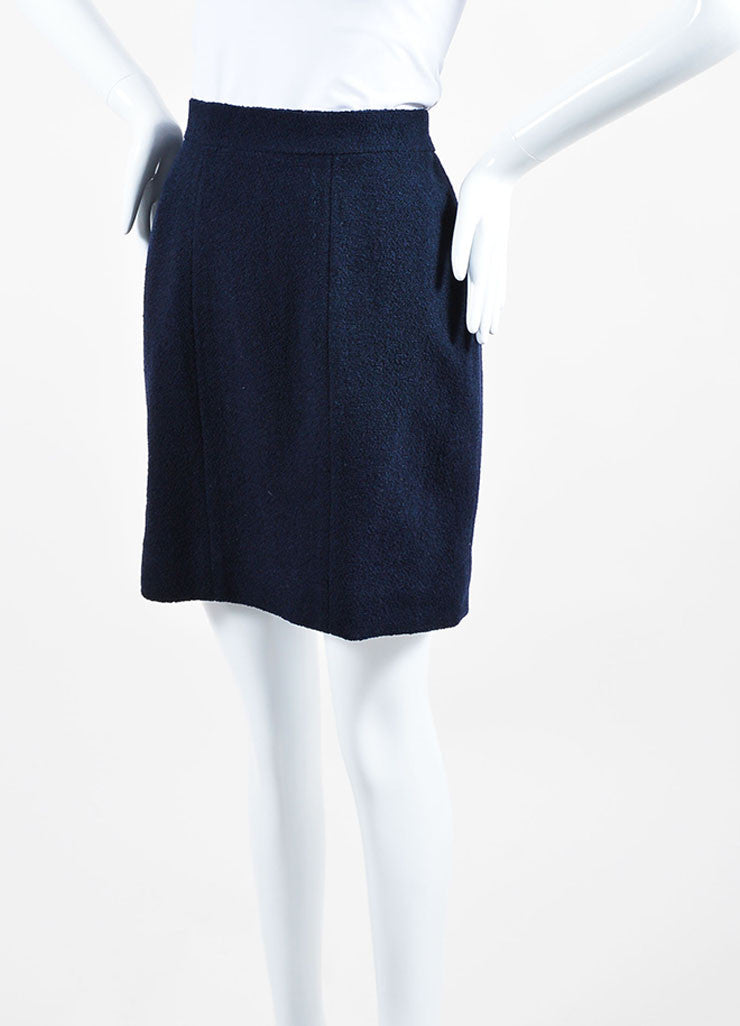 Navy Blue Chanel Boucle Wool Pencil Skirt Sideview