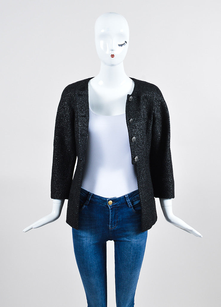 Black Chanel Coated Tweed 'CC' Button Collarless Jacket Frontview