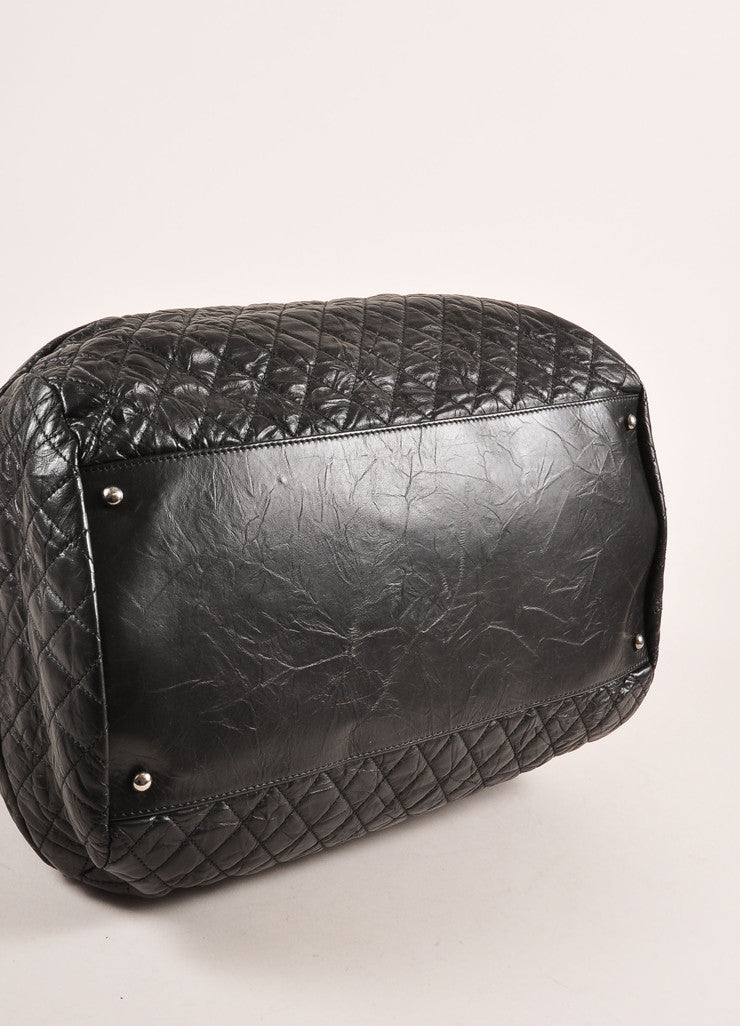 "Chanel Black Crinkle Leather ""CC"" Logo Large Bowler Bag Bottom View"