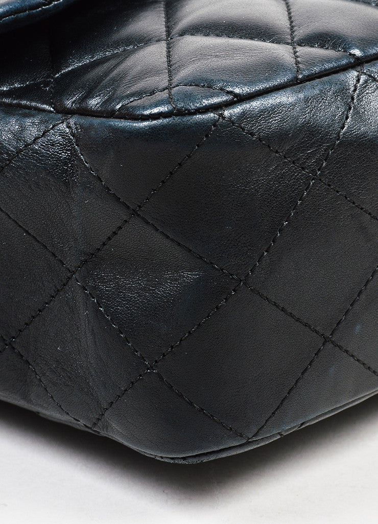 "Black Chanel Lambskin Quilted ""Timeless Classic Jumbo Single Flap"" Bag Detail"