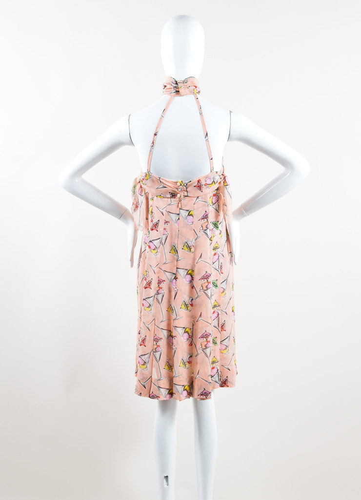 Chanel Light Pink and Multicolor Silk Chiffon Ice Cream Print Halter Dress Backview