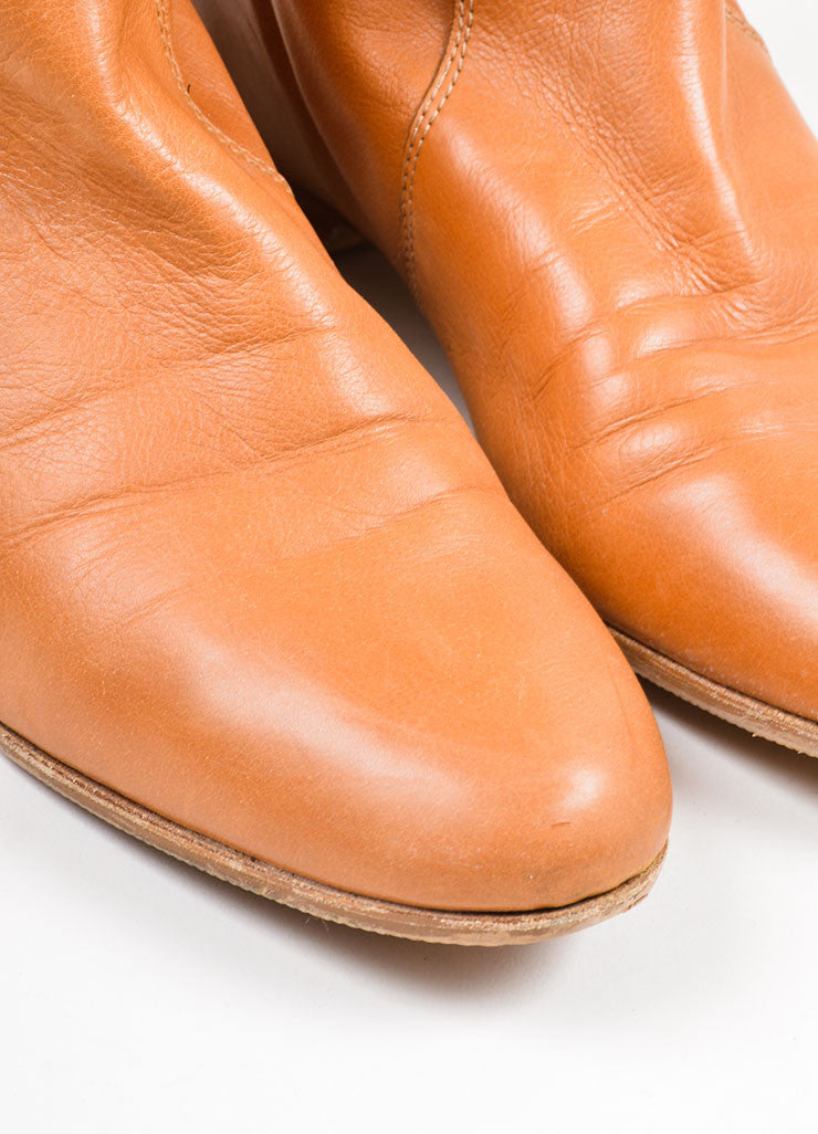 "Tan Chloe Leather Knee High Flat ""Zimba"" Boots Detail"