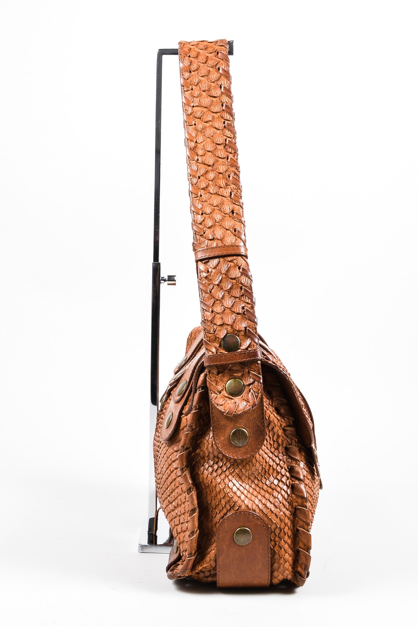 Brown Python Leather Chloe Flap Messenger Bag Sideview