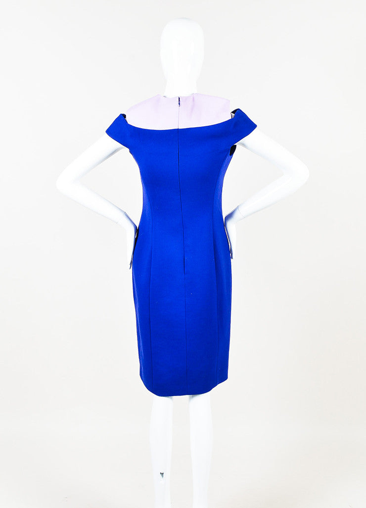¥éËChristian Dior Blue and Pink Wool Paneled Off The Shoulder Sheath Dress Backview