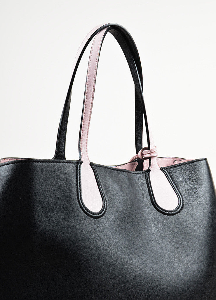 "Christian Dior Black and Pink Leather Logo Charm ""Addict"" Vertical Tote Bag Detail 2"