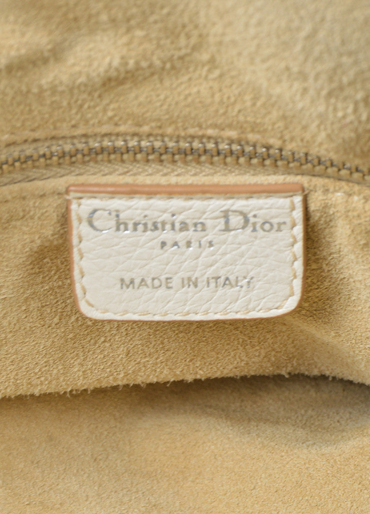 "White Christian Dior Leather Dior Charm ""Diorissimo"" Tote Bag Brand"