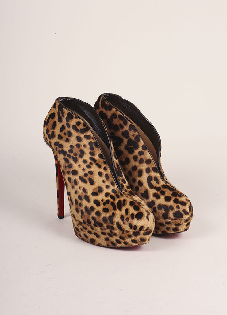 Christian Louboutin Cheetah Print Pony Hair Miss Fast Plato Booties Frontview