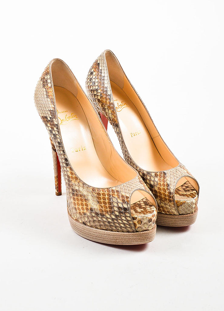 "Christian Louboutin Tan ""Palais Royal Trepointe 140 Python"" Pumps Frontview"