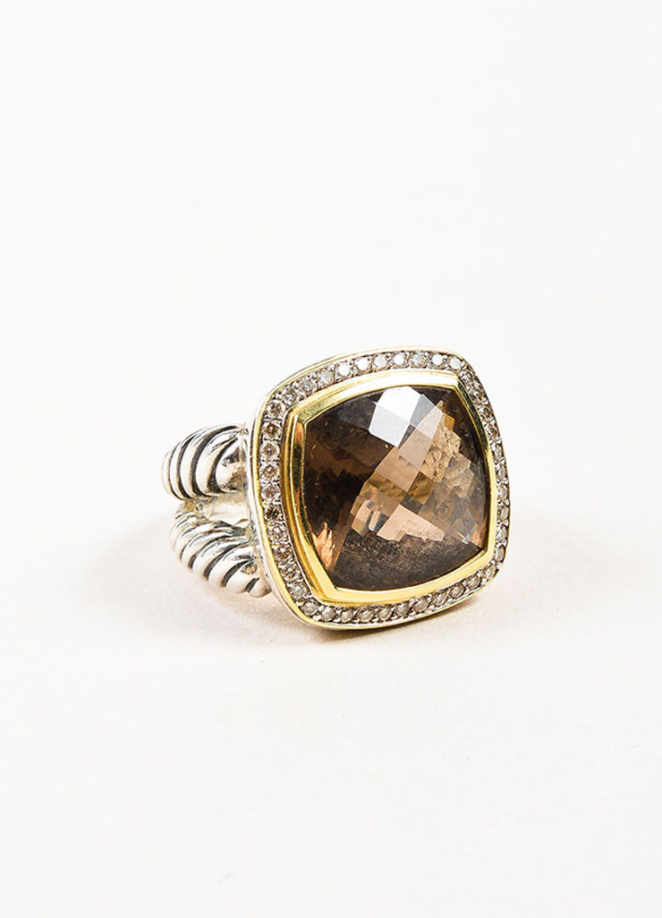 "David Yurman Sterling Silver, 18K Gold, and Smoky Quartz Diamond ""Albion"" Ring Sideview"