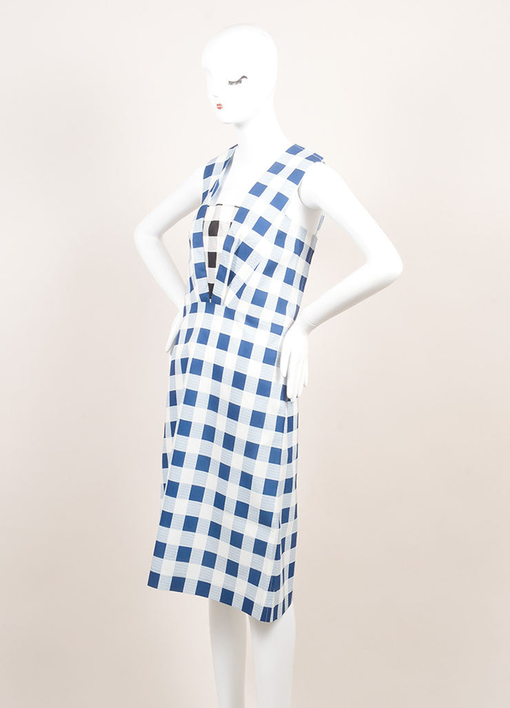 Derek Lam New With Tags Blue and White Checkered Plaid Silk Blend Sleeveless Dress Sideview