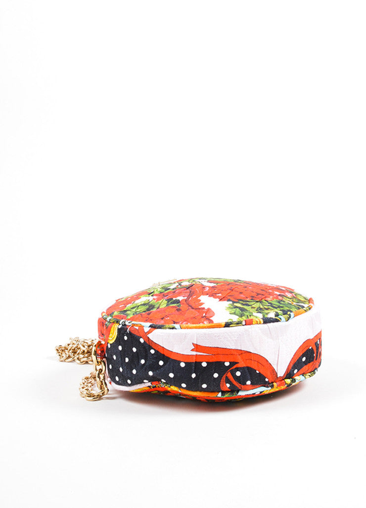 "Dolce & Gabbana Pink, Red, and Green Floral and Fruit Round ""Glam"" Crossbody Bag Bottom View"