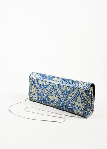 Dries Van Noten Blue and Grey Leather Textured Printed East West Flap Shoulder Bag Sideview