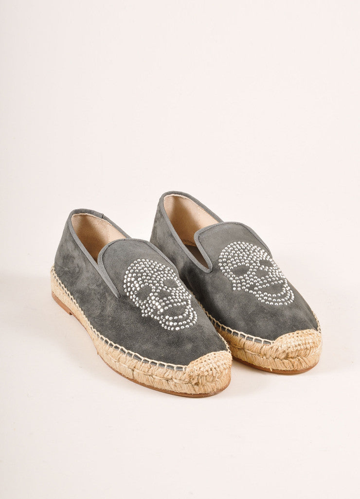 Elyse Walker New In Box Grey Suede Rhinestone Skull Espadrille Flats Frontview