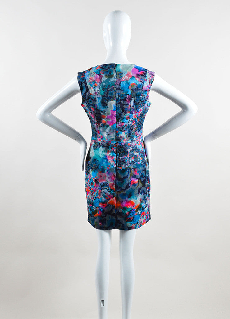 Erdem Blue and Pink Cotton Blend Watercolor Print Sheath Dress Backview